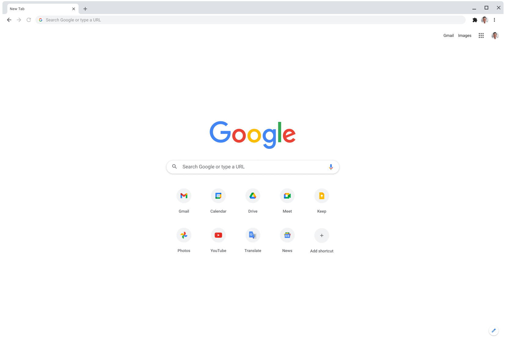 Chrome browser window displaying Google.com.
